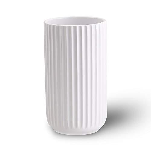 22CM Blanco Decorativos Modernos Ceramica Jarrones de Flores para Mesa de Comedor Sala de Estar Idea Regalo para Cumpleaños...