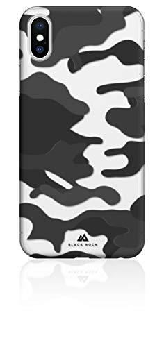 Black Rock - Camouflage Case Hülle für Apple iPhone X | Halb-durchsichtiges Cover, Handyhülle, kabelloses Laden (Camo Schwarz)