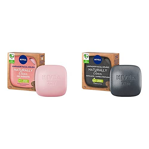 NIVEA Naturally Clean Limpiador Facial Sólido Piel Radiante 1 x 75 g y Clean Exfoliante Facial Sólido Limpieza Profunda 1 x 75 g