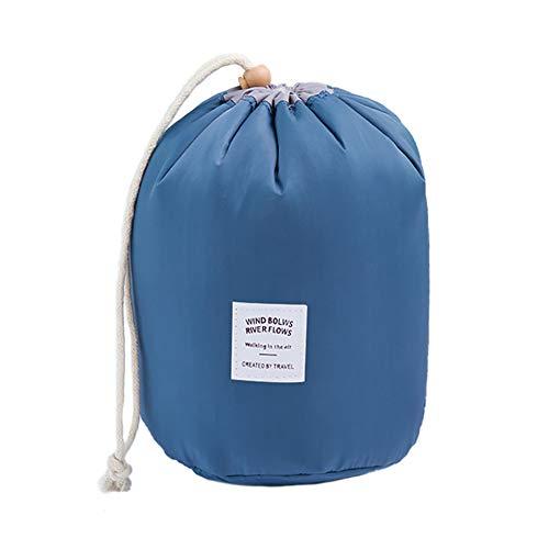Drawihi Cylindre Sac Cosmétique de Voyage Trousse Rangement Cosmétique Sac a Maquillage Grande Capacité Cordon de Serrage Trousse de Toilette (Bleu Foncé)