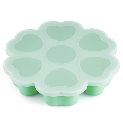 Baby Food Freezer Trays - Kirecoo 7 Large Cups 2.1 Oz BPA Free Baby Freezer Storage Containers for Homemade Baby Food, Fruit & Vegetable Purees or Breast Milk (Mint)