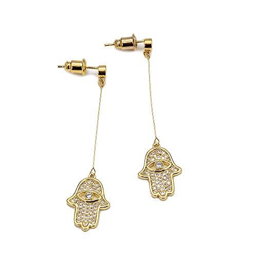 Hamsa Hand Charme lange Tropfen Ohrringe Gold Farbe türkische Auge baumeln Ohrringe Schmuck für Frauen Mädchen Damen