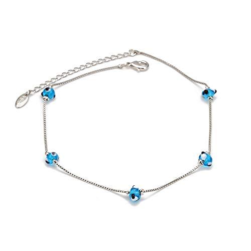 Azul Turco Mal Ojo Abalorios Tobillo Oro Color Cadena De Pie Pulsera Ajustable Para Las Mujeres Niñas Joyería