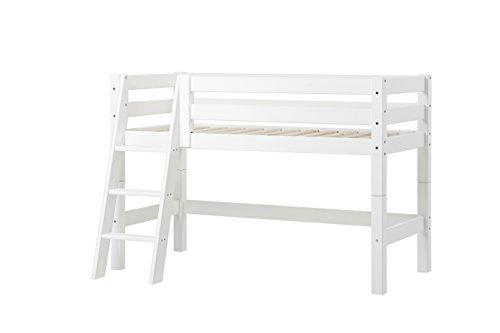 Hoppekids Kiefer massiv inklusiv Lattenrost und schräg Leiter, Holz, Weiß, 169 x 114 x 108 cm