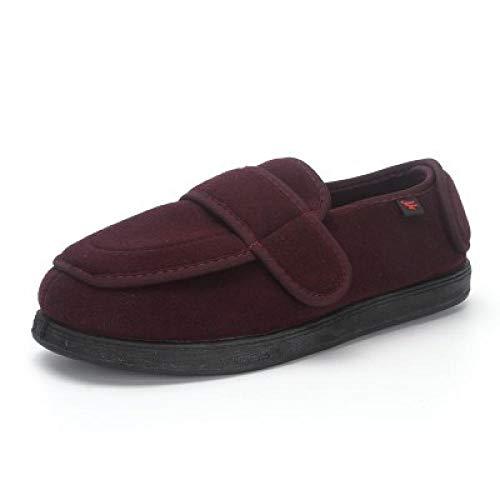 Diabetische wandelschoenen voor heren Ademende sneakers, herfst- en winterverzorgingsschoenen voor ouderen, geschikt voor diabetische instap hypertrofie-UK8.5_Wijnrood plus fluweel, diabetische pantoffel