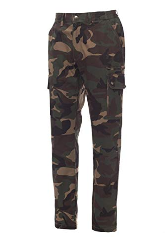 PAYPER Forest Summer Pantalone da Uomo Estivo 100% Cotone Chiusura Zip portametro Tasche Anteriori Laterali Posteriori (Mimetico, 4XL)