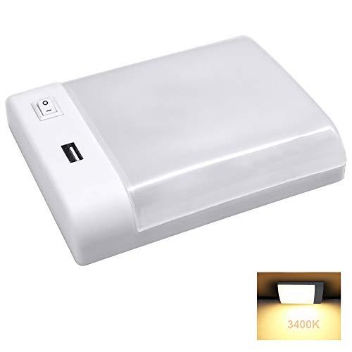 Facon LED-Deckenleuchte mit USB-Ladegerät (5V / 2,4A), Doppelleuchte unter Schrankleuchte mit EIN- und AUS-Schalter, 12V LED-Innenbeleuchtung für Wohnmobile, Wohnwagen, Autos, Boote