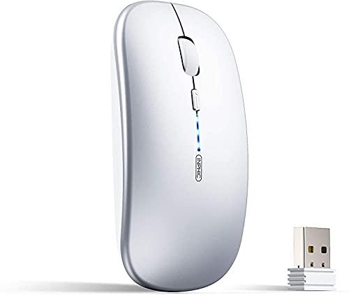 TXXM Ratón inalámbrico de 2,4 G, 1600 DPI con receptor USB para ordenador portátil, ordenador, Mac Tablet (color plateado)