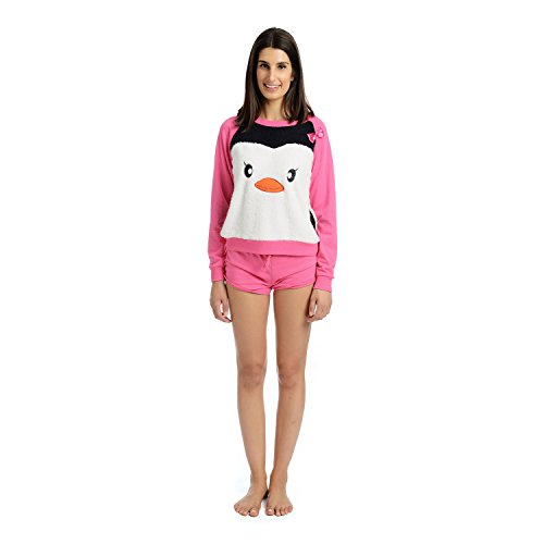 Body Candy Junior's Pajama 2 Piece Long Sleeve top and Short Set, PINPEN, X-Large