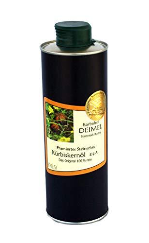 500ml Dose Original Steirisches Kürbiskernöl ggA. vom Kürbishof DEIMEL - Mit Herkunftsgarantie - Direkt von uns als Erzeuger geliefert - Jährlich prämierter Kürbiskernölerzeuger