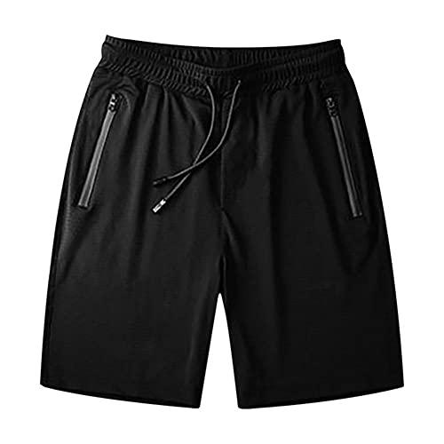 UKKD Pantalones Cortos De Deporte Hombre Pantalones Cortos Casuales para Hombres Que Corren El Estiramiento De Yoga Pantalón De Yoga De Algodón Suave De Los Hombres Suaves-BK,XXXL