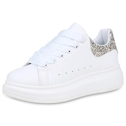 SCARPE VITA Damen Plateau Sneaker Freizeitschuhe Schnürer Leder-Optik Schuhe Glitzer Plateauschuhe 191394 Weiss Gold 39