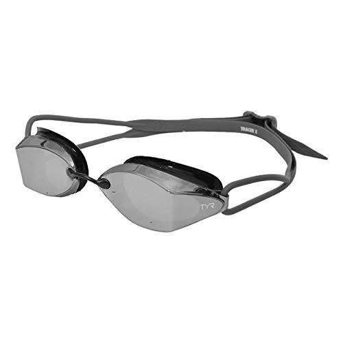 TYR Racing Goggle Mirrored, Occhialino specchiato da Competizione Tracer X Unisex-Adult, Silver Black, Taglia unica