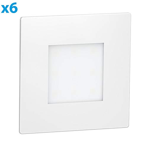 ledscom.de LED lámpara de Escalera FEX lámpara empotrable en la Pared, Blanca, Angular, 8,5x8,5cm, 230V, Blanca fría, 6 UDS