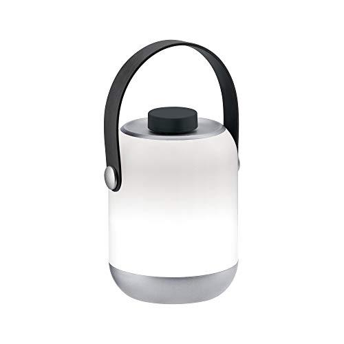 Paulmann Accu Tablelamp 94210 Outdoor LED Akkuleuchte incl. 1x1,6 Watt dimmbar Mobiles Licht Grau Akkulampe Kunststoff Kabellos 3000 K, 1.6 W, Clutch silber