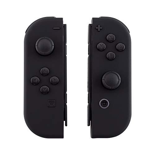 eXtremeRate Hülle Gehäuse Case Cover Schutzhülle Schale Tasche Set für Nintendo Switch Joycon Controller mit vollständige Tasten(Schwarz)-Keine Konsole Hülle