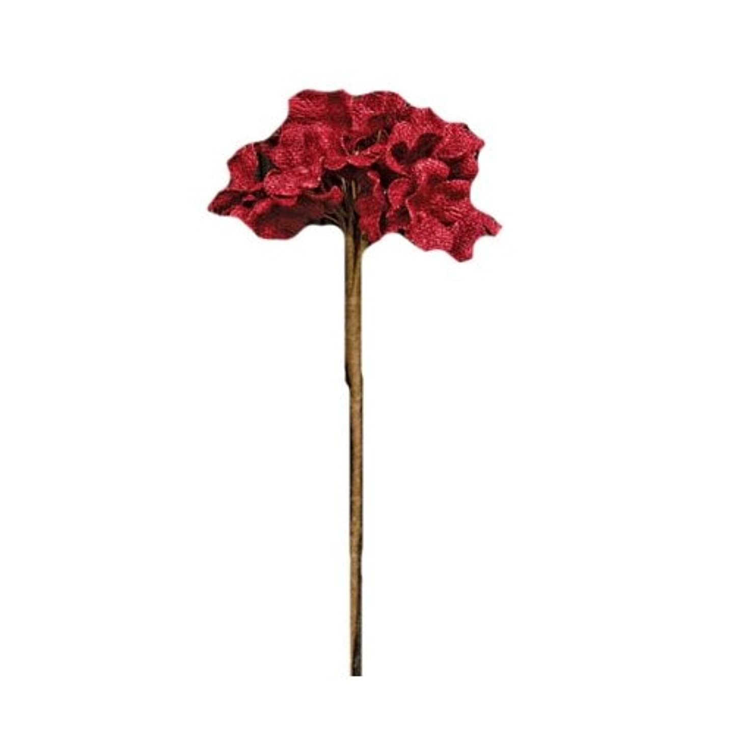 CWI Gifts Burlap Hydrangea Pick, 14-Inch, Red