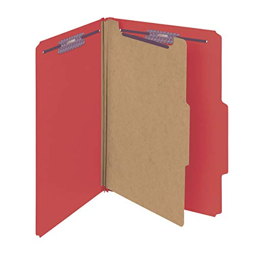 """Smead Pressboard Classification File Folder with SafeSHIELD Fasteners, 1 Divider, 2"""" Expansion, Legal Size, Bright Red, 10 per Box (18731)"""