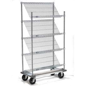 Slant Wire Shelving Truck - 4 Shelves with Dolly Base - 36