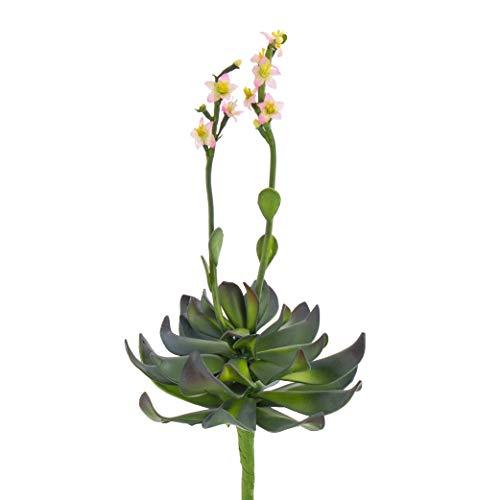 artplants.de Aeonium Artificial en Vara de Ajuste, Flores Rosas, 30cm - Planta Decorativa - Suculenta sintética