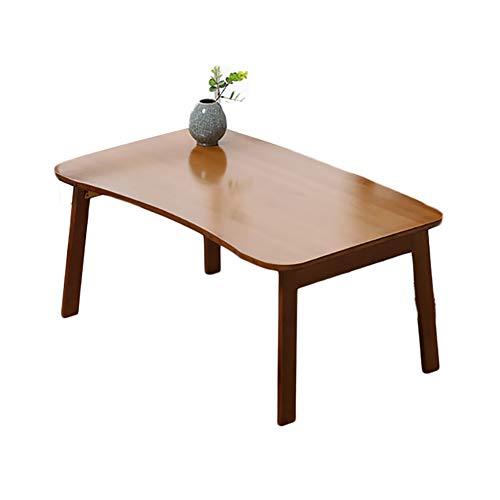 JU FU Table pliante - Bureau pliant incurvé Bamboo Brown Table de lecture pliable parfaite pliable dans le lit 80X50X34cm |