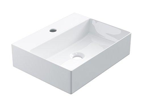 STARBATH PLUS Keramik Aufsatzwaschbecken Mit Hahnloch Waschschale Handwaschbecken Eckig (45 x 35 x 12 cm)