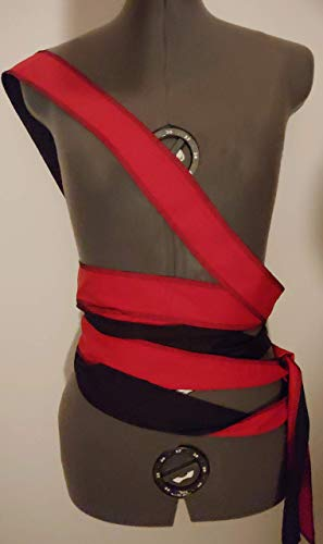 red and black reversible two sided extra long cotton/poly wrap SCA renaissance pirate sash costume 144""