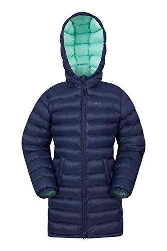 Mountain Warehouse Florence Lange, gefütterte Kinder-Jacke - leichte Winterjacke, isolierter Mantel, weich, warm, mit Kapuze - Winterbekleidung für Reisen und Outdoor Marineblau 98 (2-3 Jahre)