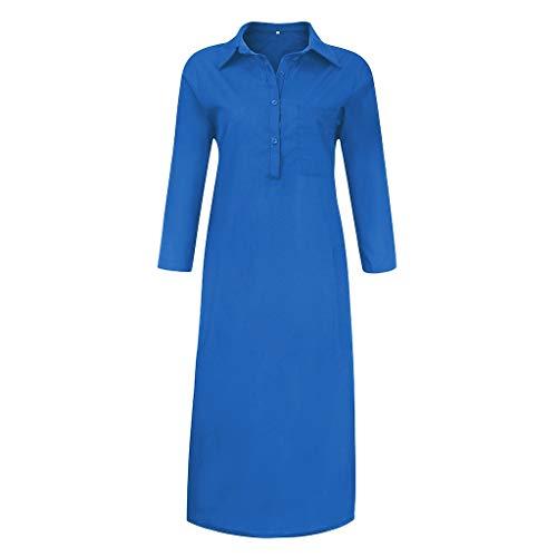 Vectry Damen Freizeitkleid Langarm V-Ausschnitt Button Down Shirt Kleid Seitenschlitz Midikleid Einfarbig Baumwoll-Leinenkleid Loses Kleid Hemdkleid Langes Kleid mit Tasche Plus Size Dress(Blau,2XL)