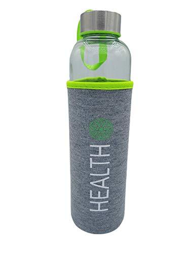 Botella Agua Cristal Con funda neopreno 600 ml Verde Sin BPA Motivacional para Deporte Gimnasio Reutilizable y Térmica | Cantimplora deportiva niño Gym vidrio acero inoxidable.
