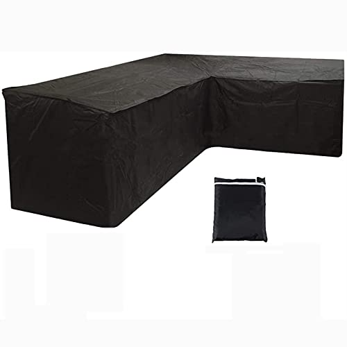 CHLDDHC Cubierta impermeable resistente al polvo para muebles de jardín, para mesa y sillas Oxford 210D al aire libre, negro-L-27020082cm
