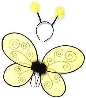 KidsStuff Toddler Bumble Bee Wings with Headband Dance Halloween Costume, Yellow/Black (Small Size)