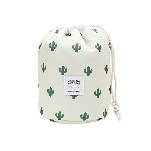Große Kulturbeutel Kordelzug Waschbeutel Multifunktion Makeup-Tasche Reise-Fass Kosmetiktasche Tragbare Reise Toiletry Organizer Reisetaschen Wash Bag für Frauen und Mädchen, Kaktus