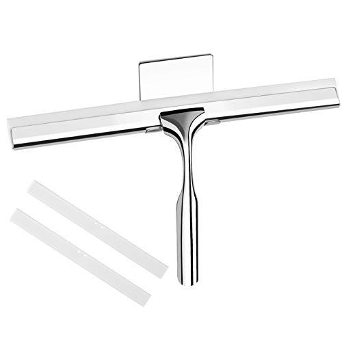 Telgoner Rasqueta limpiacristales de ducha de acero inoxidable, con 2 limpiaparabrisas de silicona, 25 cm, con colgador de pared, sin taladrar, para baño, cocina, ventanas y cristales del coche