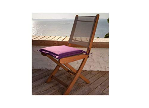 Lot de 4 Coussins Galette Garden - Chaise/Fauteuil - 40 x 40 cm - Cassis