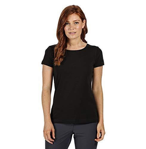 Regatta T- Shirt Technique Manches Courtes 100% Coton Carlie avec imprimé Polos/Vests Femme, Black, FR : XS (Taille Fabricant : 10)