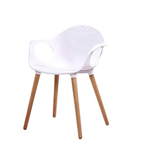 KIMSAI Modern PP Plastic Hout Eettafel En Stoelen Outdoor Koffie Vrije tijd Tafel En Stoel Combinatie Eetstoelen Gestoffeerde Zijstoel Set Van 4,Wit