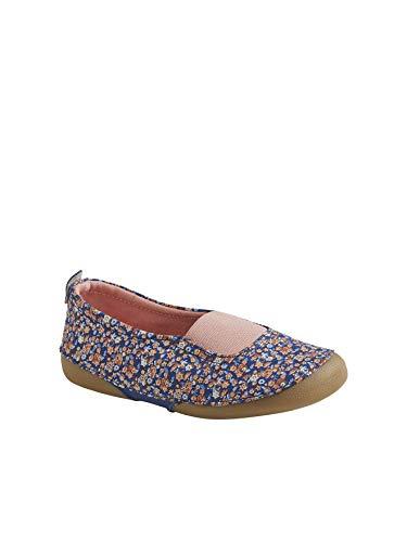 Vertbaudet Mädchen-Hausschuhe, elastisch, Blau - Marineblau, bedruckt, Blumen. - Größe: 28 EU