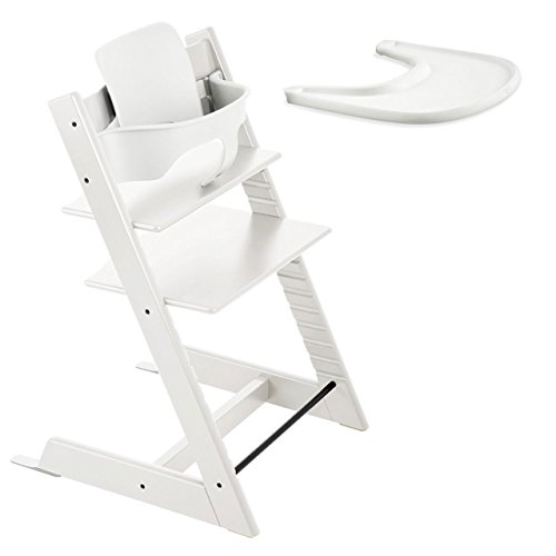 Stokke Tripp Trapp High Chair, Baby Set - White & Tray - White
