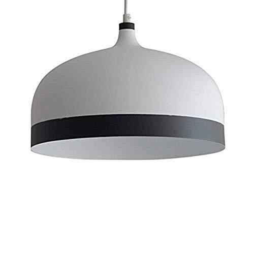 HMKJ Ladrilla blanca Metal de aluminio Pot Tapa de la tapa de la lámpara de araña Moderno E27 Single Head Bar Cafe Colgante Luz Mesa de Comedor Tienda de ropa Decorativa Colgante Linterna araña de la