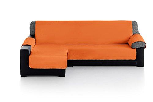 Eiffel Textile Chaise Longue Cubre Sofá Acolchado, Brazo Izquierdo 280, 100% Poliester, Naranja, 280x200x4 cm
