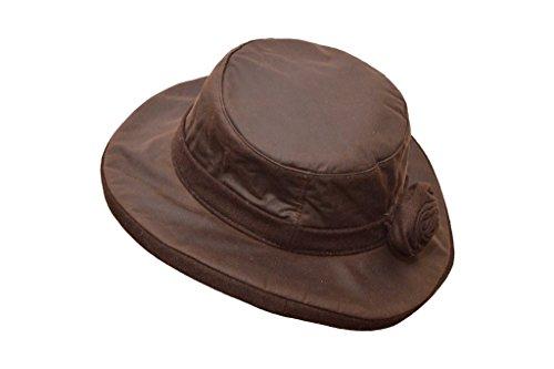 Walker and Hawkes Windsor Rose - Damen Hut gewachst - breite Krempe und Blume - Braun - Größe XS bis 2XL
