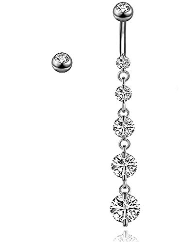 Yeelong Surgical Stainless Steel Silver Belly Button Rings Dangle Belly Rings Dangle Sexy