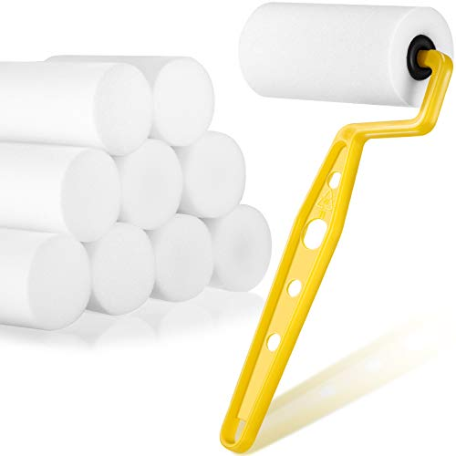 Foam Trim Roller 3-Inch Trim Paint Roller with 10 Pieces 3 Inch Foam Roller Refills Foam Paint Rollers Covers for Roller Frame Home Wall Ceilings Room Painting Supplies