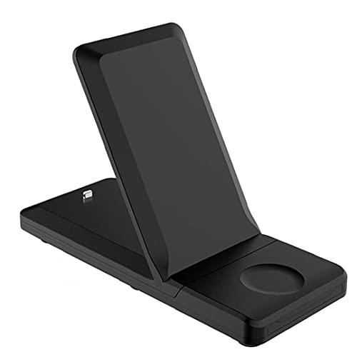 Rrunzfon Cargador inalámbrico 3 en 1 H6 Carga rápida estación del Muelle del Soporte Plegable Titular 15W asegurar la Carga más rápido para el teléfono Inteligente Reloj Negro