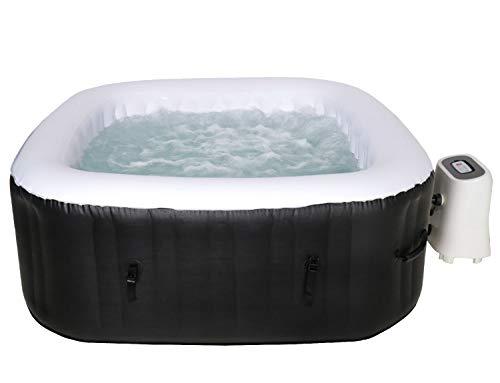 Cocooning Water - Spa gonflable carré (154x154cm) 3-4 places - 120 jets - Filtrage et chauffage - 700L - Noir et Blanc - Malaga