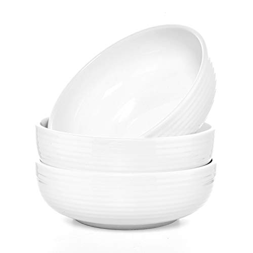 Gonioa 3 Pack Ceramic Pasta Bowls,Porcelain Salad Pasta Bowls,Cereal and Pasta Bowl Set,Large Bowl Suitable for Pasta, Soup Salad and so on.Dishwasher, Oven Safe.8.8 Inch - 45 Ounce,White