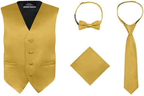S H Churchill Co Boy s 4 Piece Vest Set with Bow Tie Neck Tie Pocket Hankie Gold Size 12 product image