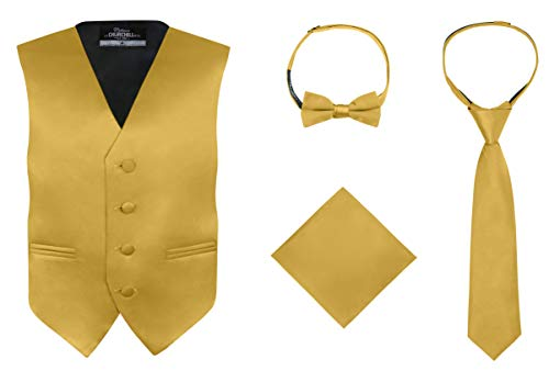 S.H. Churchill & Co. Boy's 4 Piece Vest Set, with Bow Tie, Neck Tie & Pocket Hankie, Gold Size 7