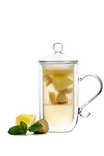 YEM 2 vasos térmicos de doble pared de 300 ml con filtro y tapa, juego de vasos de té, té, té, chais, vasos de doble pared